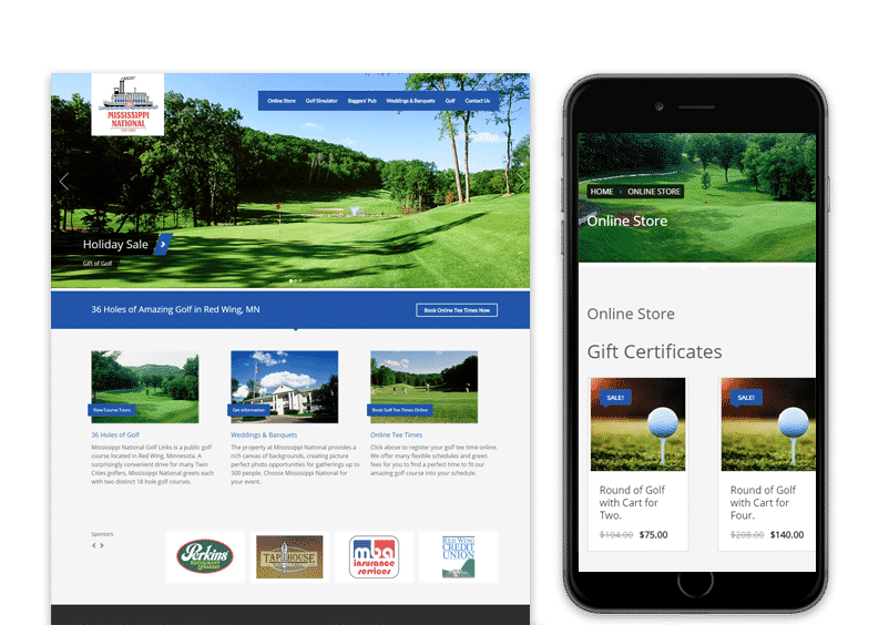 Red Wing Golf Web Design for Mississippi National