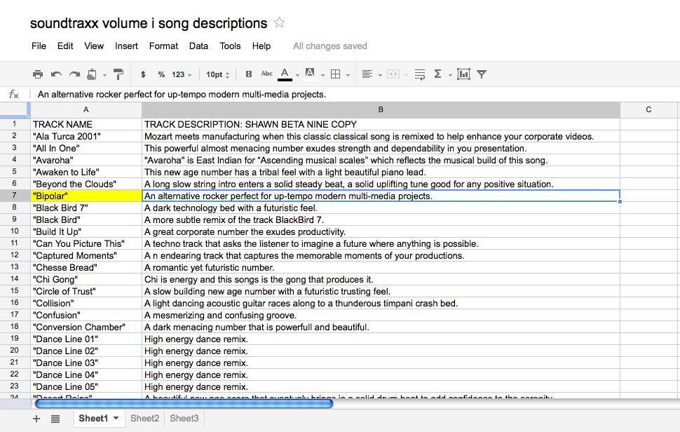 Google Docs spreadsheets screenshot