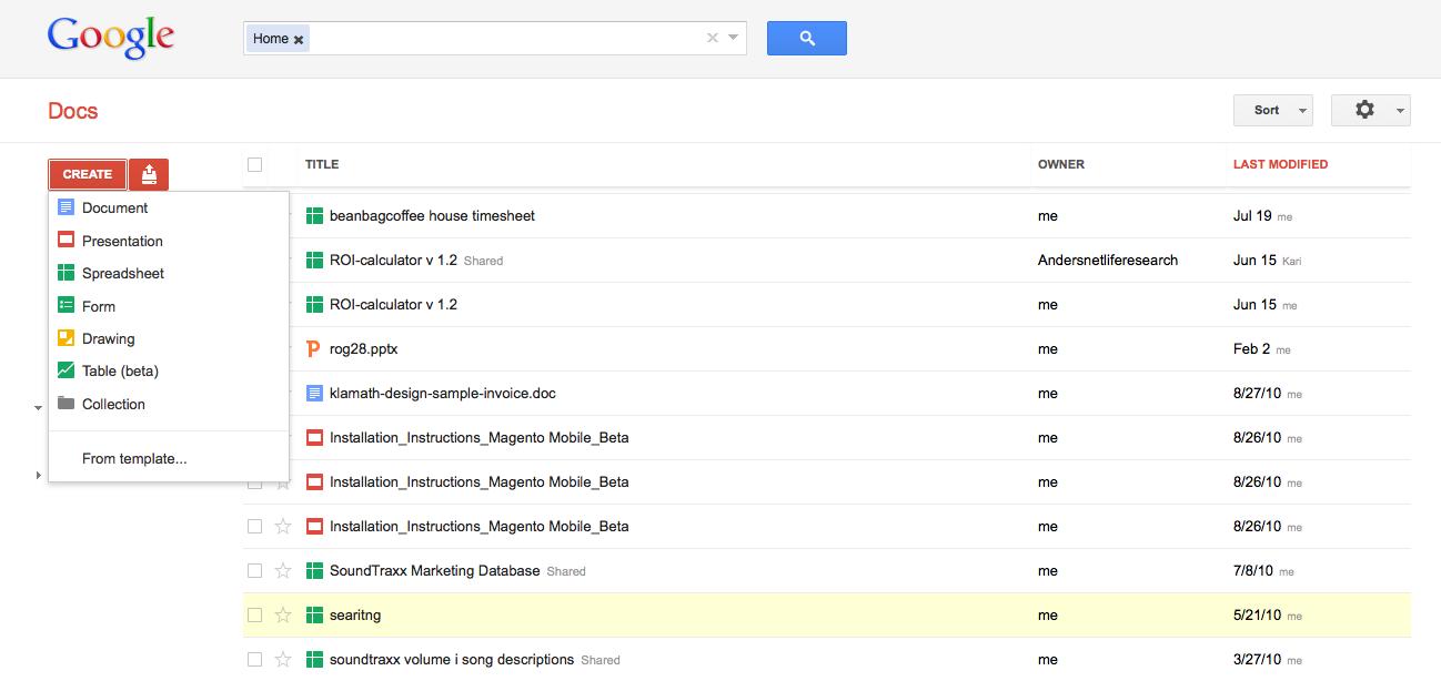 Documents view of Google Docs