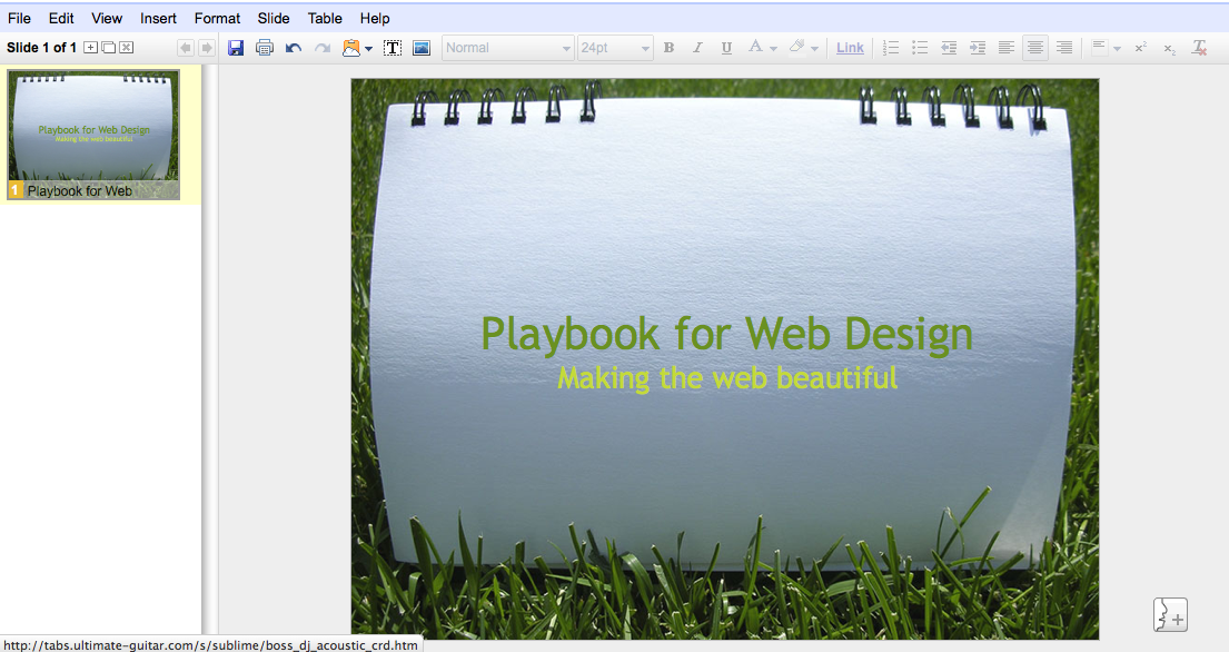 Slideshow Presentation in Google Docs
