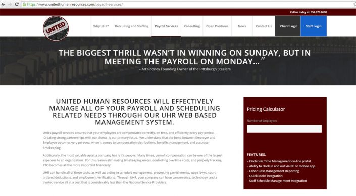 UHR Human Resources Website Design