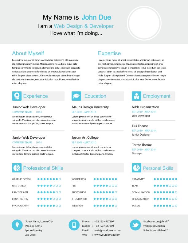 freebie modern resume vector template