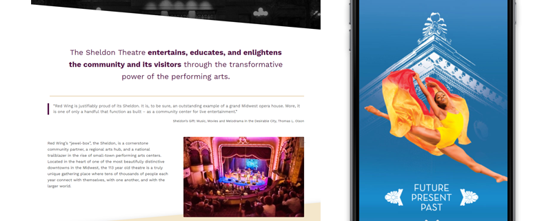 Wordpress Web Design for Sheldon Theatre of Performing Arts in Red Wing MN