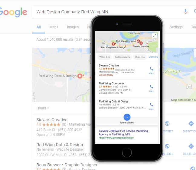 Local SEO Results on iphone screen